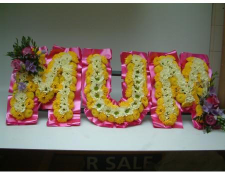 Fresh Flower Letters on a frame